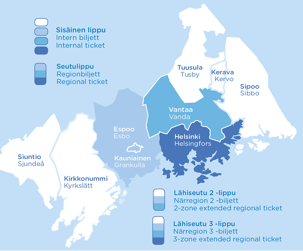 Схема зонального деления городского транспорта Хельсинки