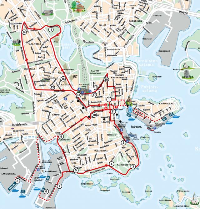 Карта маршрута Hop On Hop Off Хельсинки