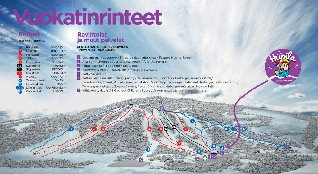 Карта склонов Вуокатти