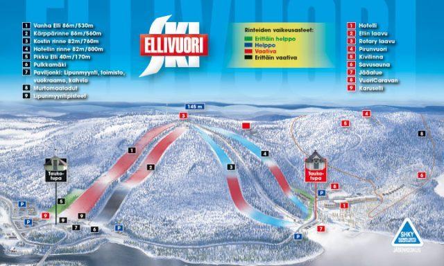 Карта склонов Элливуори, Тампере