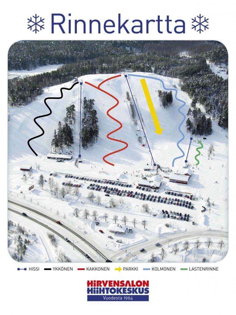 Карта склонов горнолыжного центра Hirvensalo