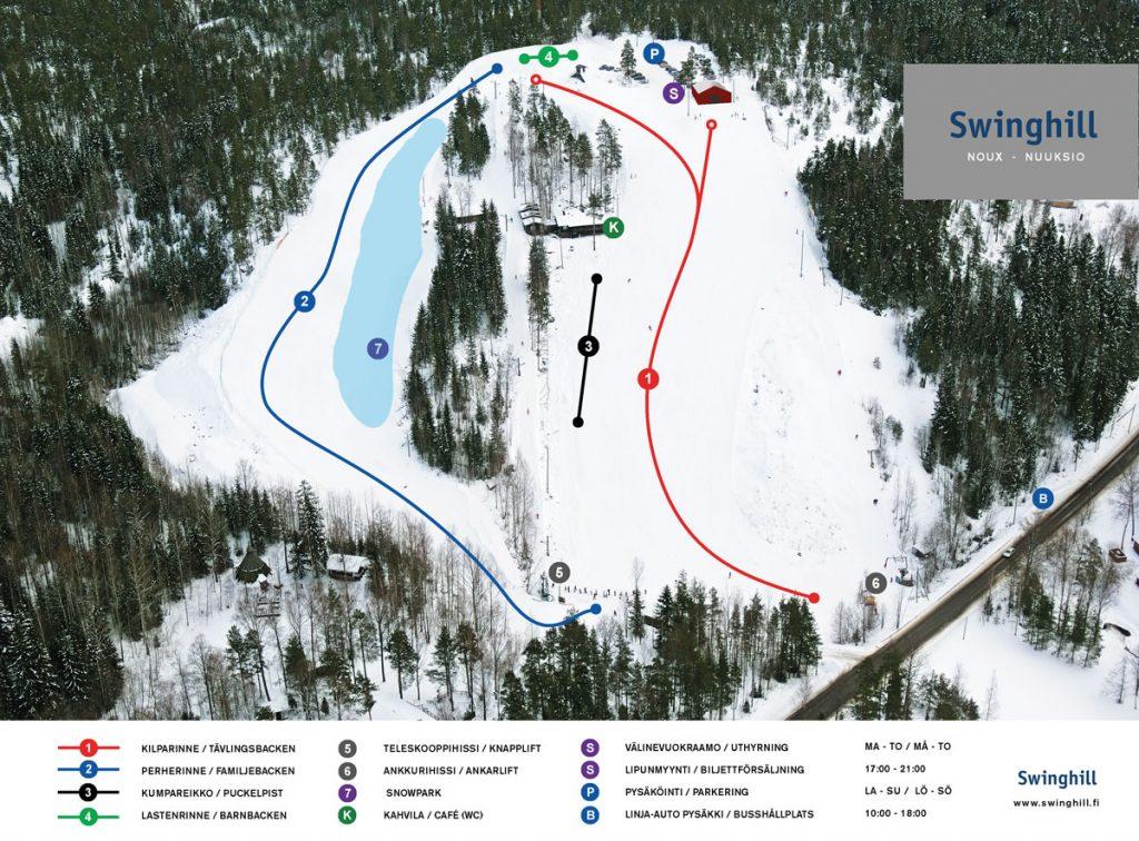 Карта склонов горнолыжного центра Swinghill