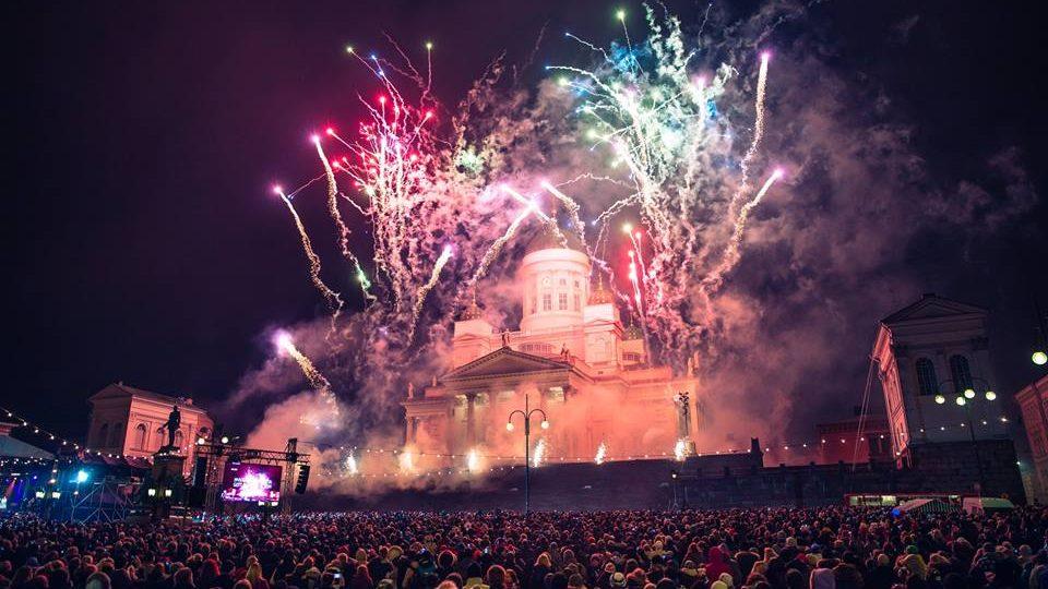 Новый год на Сенатской площади в Хельсинки. Фото: VisitHelsinki