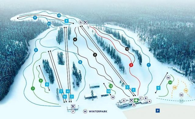 Карта склонов Vihti Ski